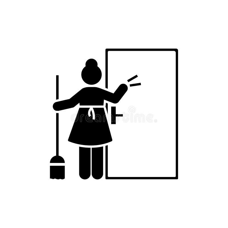 Meisje, hotel, reinigingsmachine, meisjespictogram Element van het pictogram van het hotelpictogram Grafisch het ontwerppictogram stock illustratie
