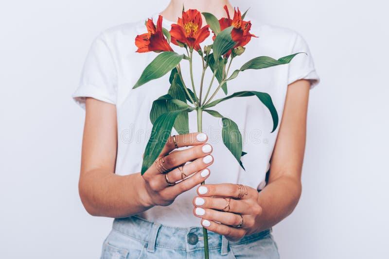 Meisje in jeans en een T-shirt die een rode bloem houden stock fotografie