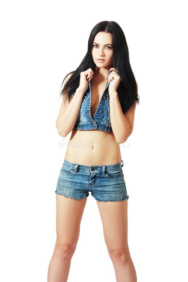 Meisje in jeansborrels royalty-vrije stock afbeeldingen