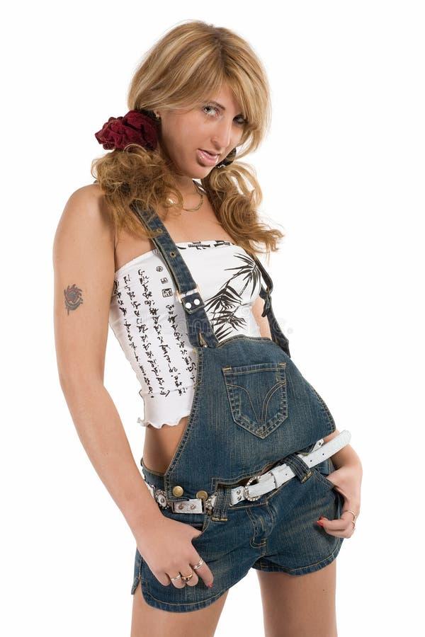 Meisje in jeansborrels royalty-vrije stock foto