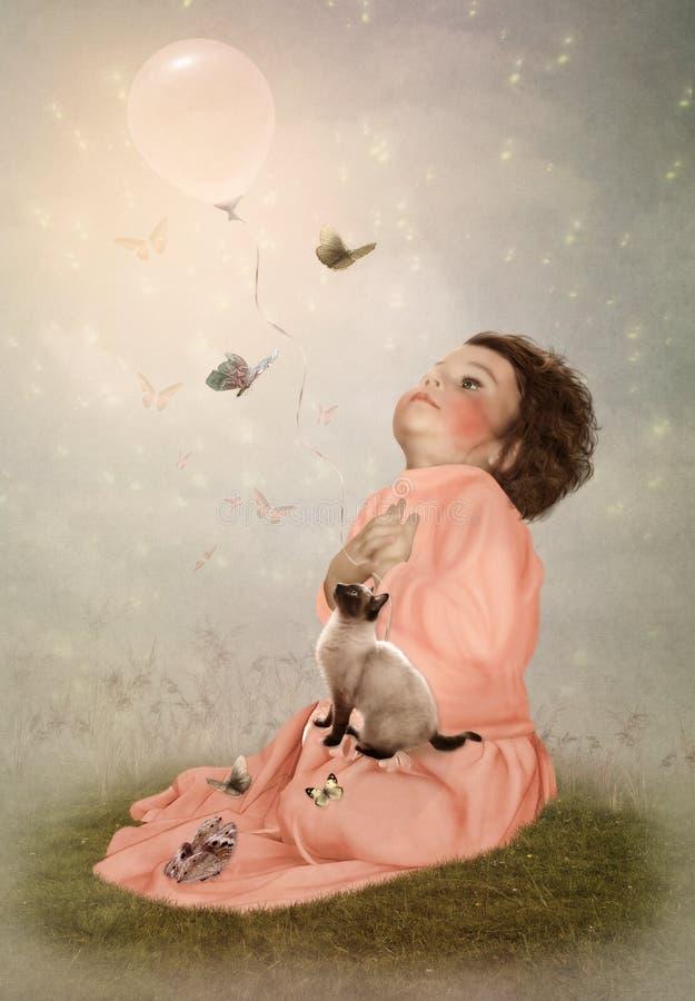 Meisje, kat en vlinders stock afbeelding