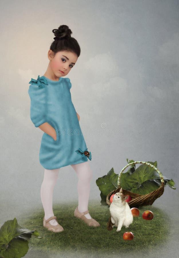 Meisje, katje en mand met appelen royalty-vrije stock foto's