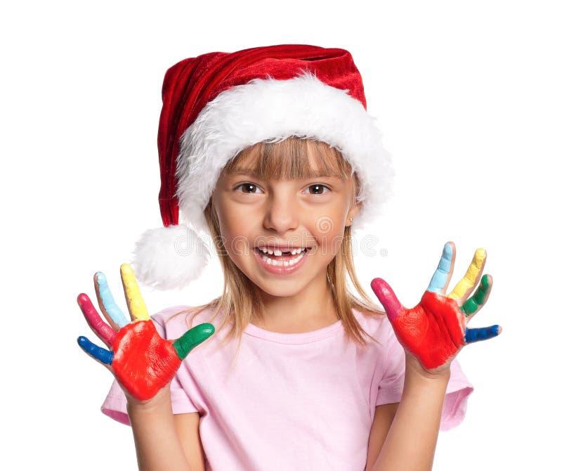 Meisje in Kerstmanhoed royalty-vrije stock fotografie