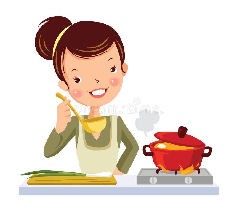 Meisje in keuken. royalty-vrije illustratie