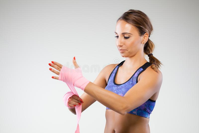 Meisje kickboxer royalty-vrije stock foto's