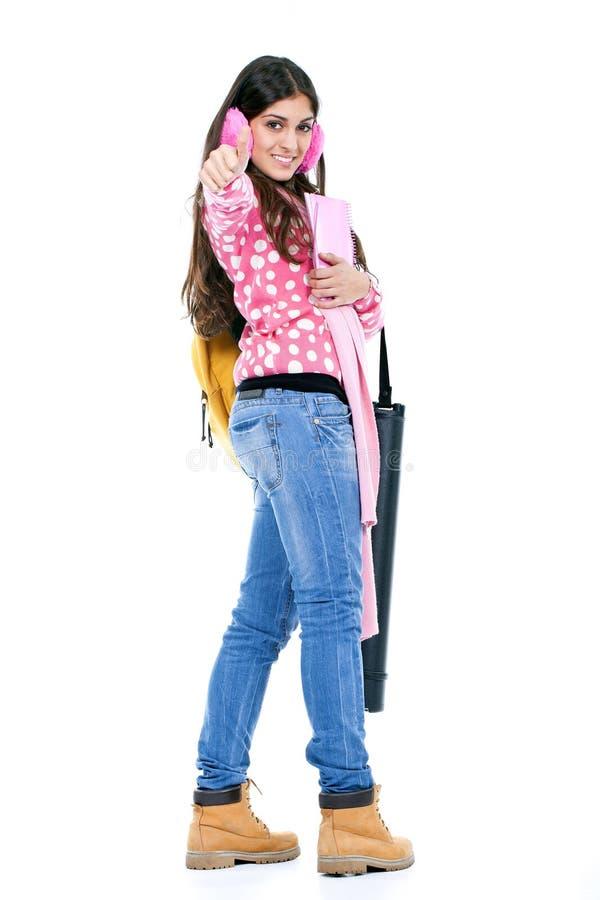 Meisje klaar om naar school te gaan royalty-vrije stock afbeeldingen