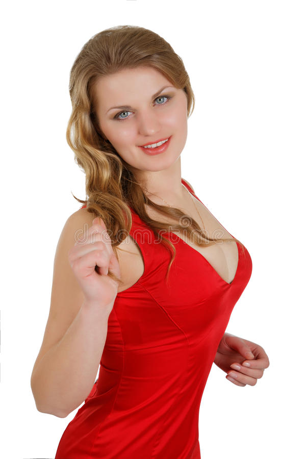Meisje in kleding met de grote borst stock foto's