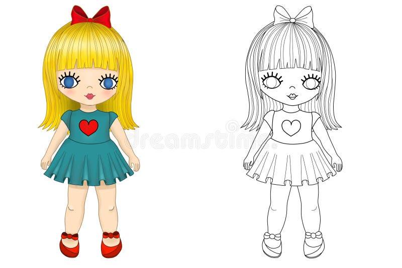 Meisje kleurende pagina stock illustratie