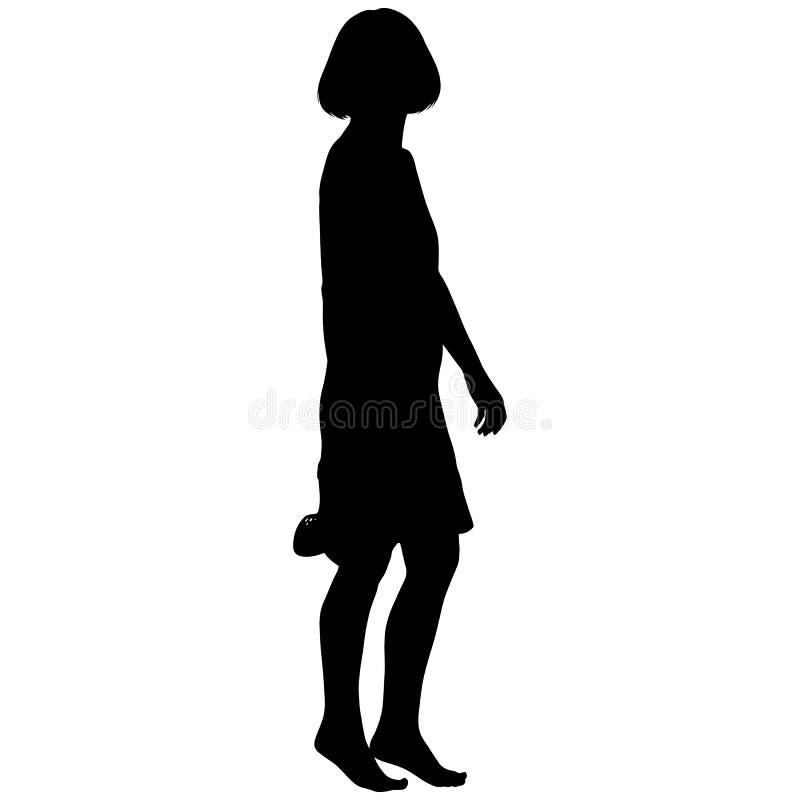 Meisje in korte kleding blootvoets met schoenen in haar hand royalty-vrije illustratie