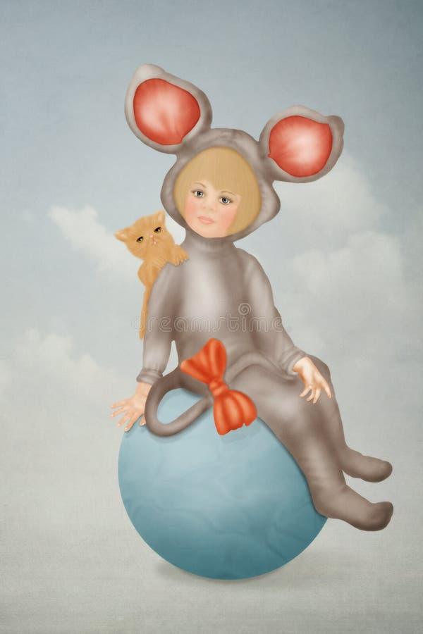 Meisje in kostuum de muis vector illustratie