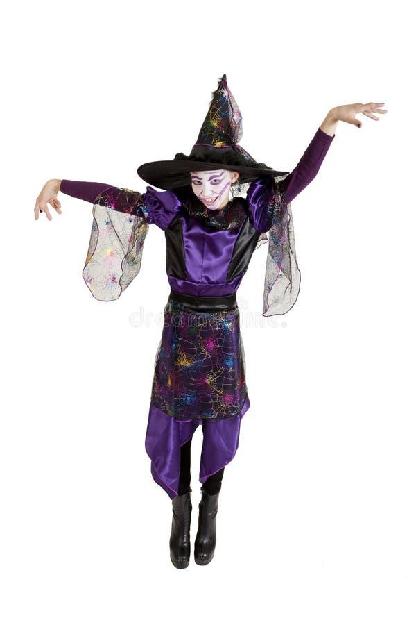 Meisje in kostuum Halloween royalty-vrije stock foto's