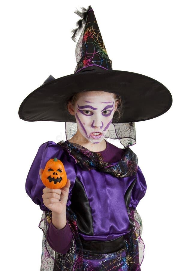Meisje in kostuum Halloween royalty-vrije stock foto