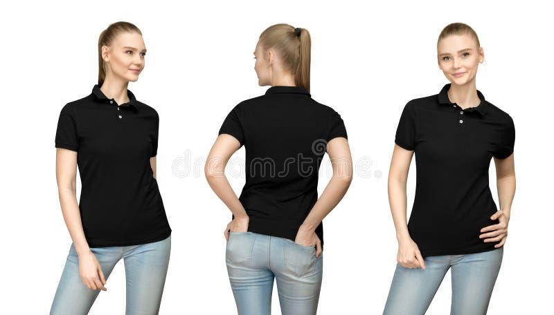meisje in leeg zwart het modelontwerp van het polooverhemd voor druk en malplaatjevrouw in zij achter geïsoleerde mening van de T royalty-vrije stock foto's