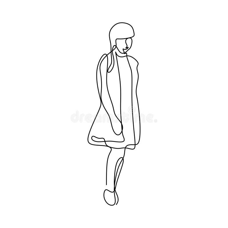 Meisje leuke ononderbroken lijntekening vector illustratie