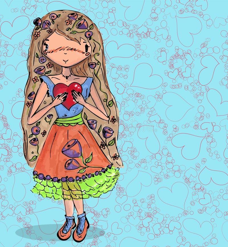 Download Meisje In Liefde Met Hart Van Getrokken Krabbel Naadloze Hand Vector Illustratie - Illustratie bestaande uit brief, vakantie: 107708178