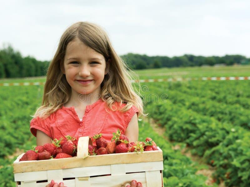 Meisje met aardbeien royalty-vrije stock foto's