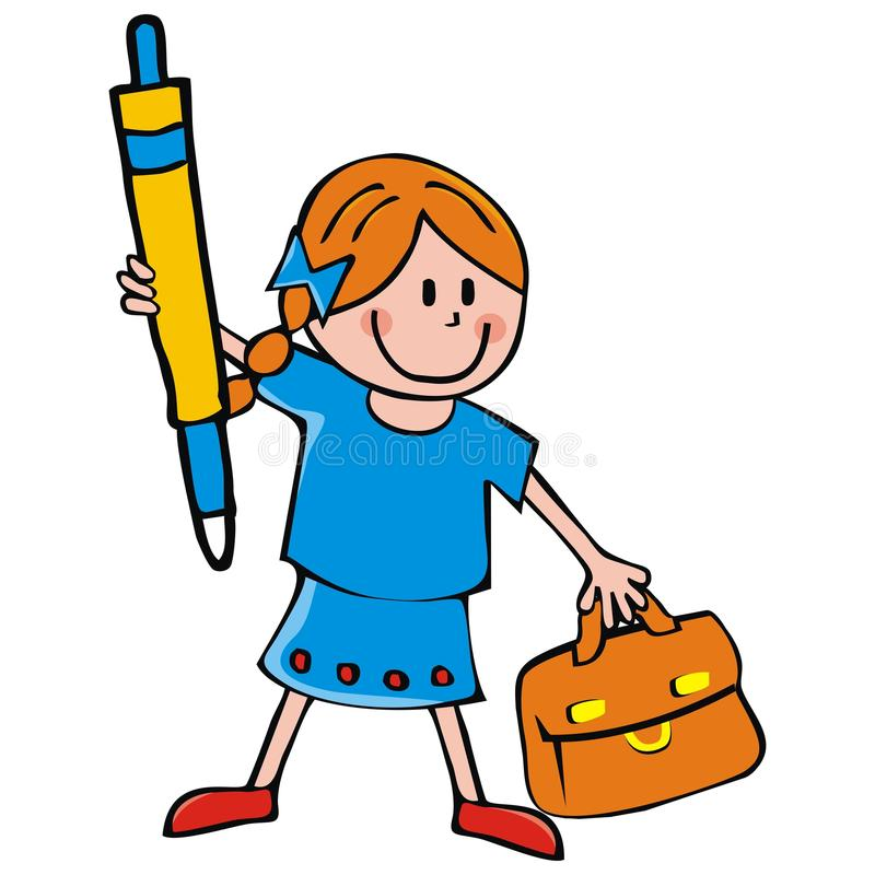 Meisje met aktentas en pen, grappige vectorillustratie stock illustratie