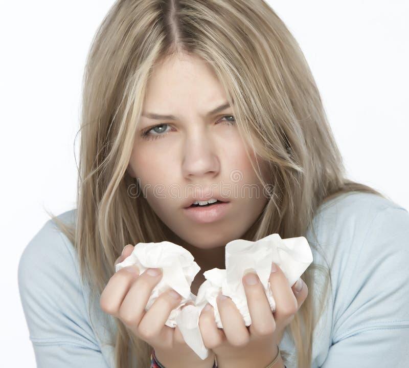 Meisje met allergieën stock afbeelding