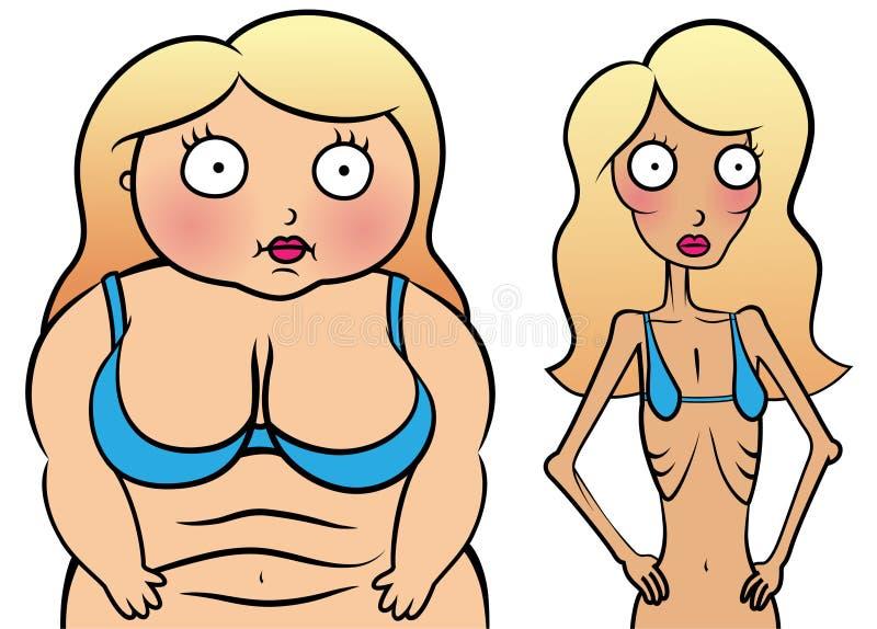 Meisje met anorexy en te zwaar meisje royalty-vrije illustratie