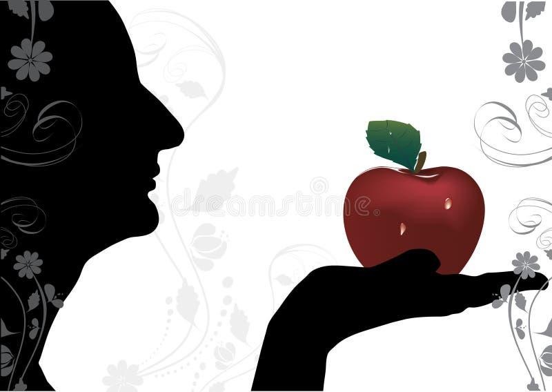 Meisje met appel vector illustratie