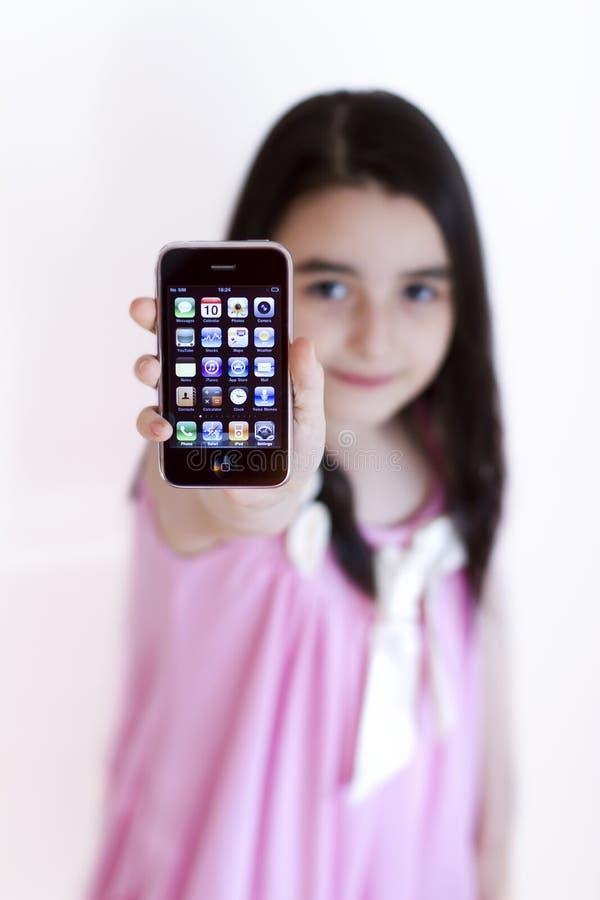 Meisje met Appel IPhone 3s royalty-vrije stock fotografie