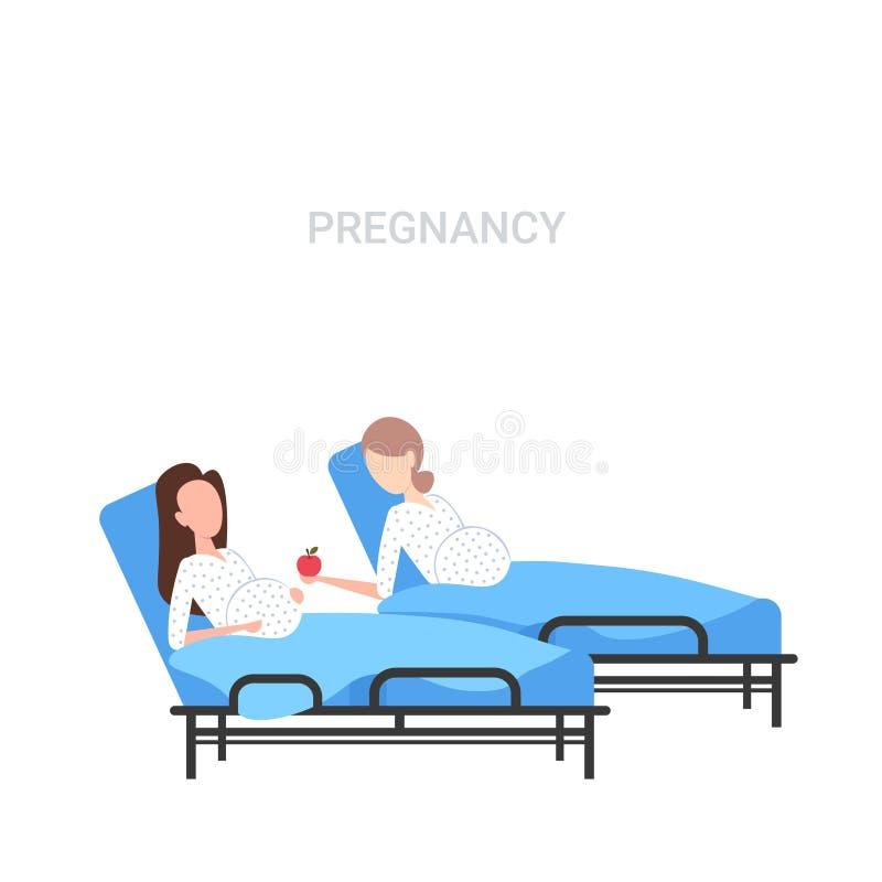 Meisje met babybuil die appel geven aan zwangere vrouw die in van het de zwangerschapsconcept van het het ziekenhuisbed vlak voll stock illustratie