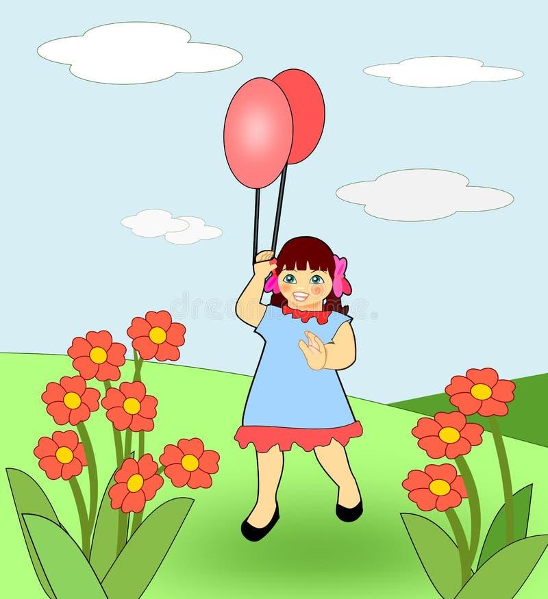 Meisje met ballons stock illustratie