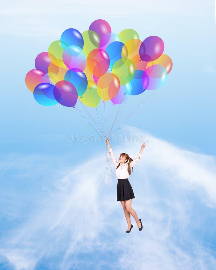 Meisje met baloons stock foto