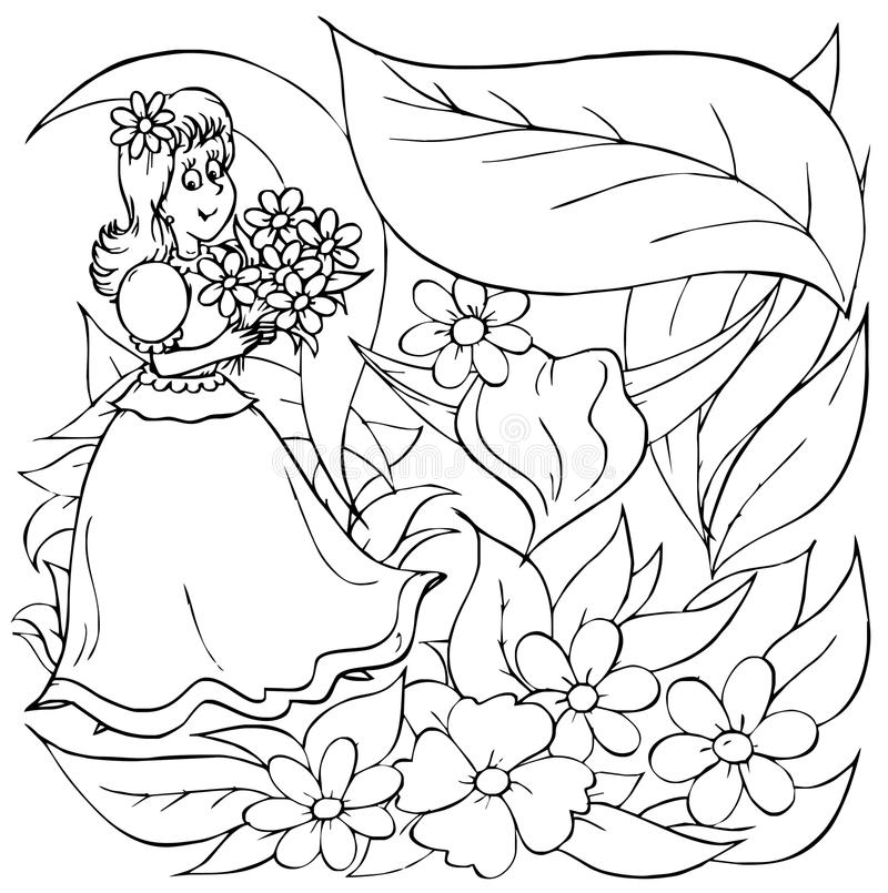 Meisje met bloemen vector illustratie