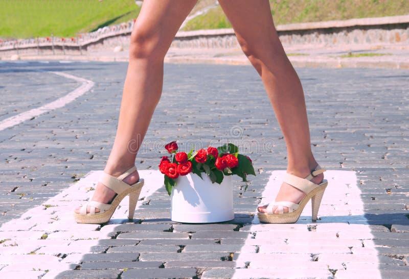 Meisje met bloemen stock foto's