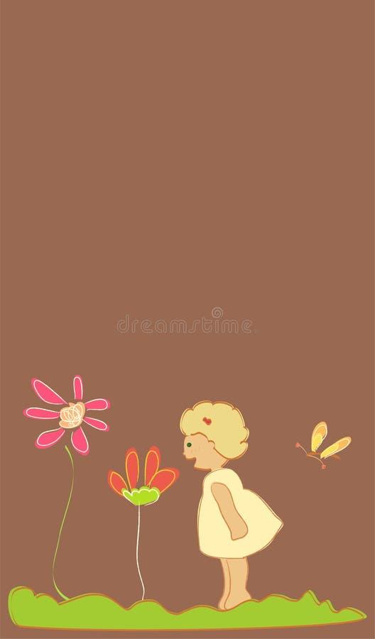 Meisje met bloemen stock illustratie