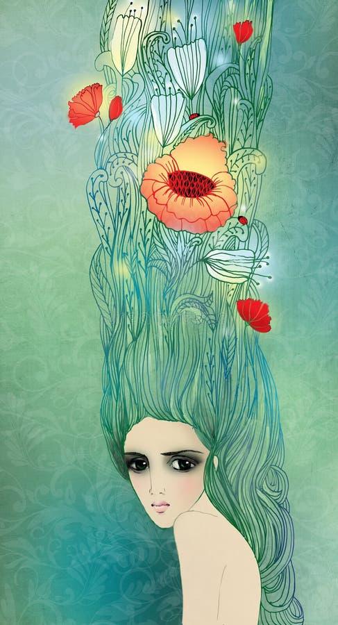 Meisje met bloemen in hun haar stock illustratie