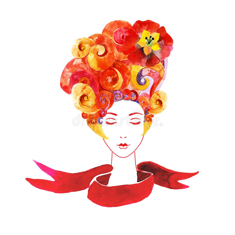Download Meisje Met Bloemen In Uw Haar Vector Illustratie - Illustratie bestaande uit mooi, menselijk: 54090155