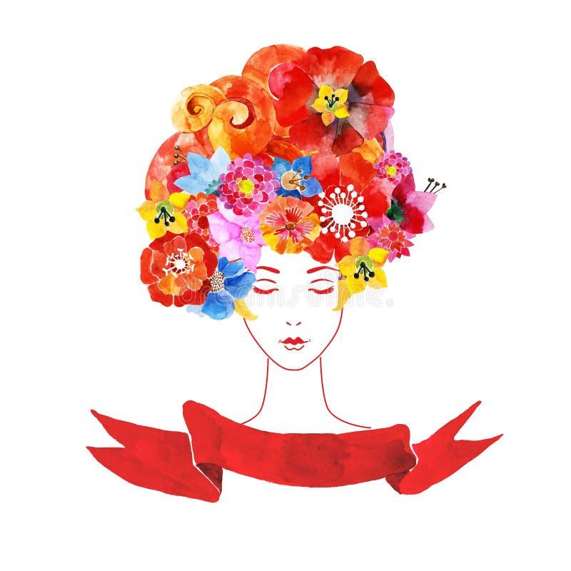 Download Meisje Met Bloemen In Uw Haar Vector Illustratie - Illustratie bestaande uit ontwerp, wijfjes: 54090156
