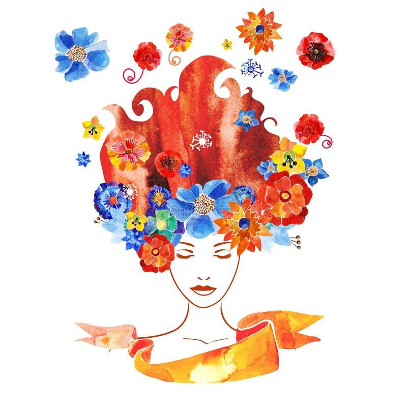 Download Meisje Met Bloemen In Uw Haar Vector Illustratie - Illustratie bestaande uit ontwerp, gezicht: 54090172