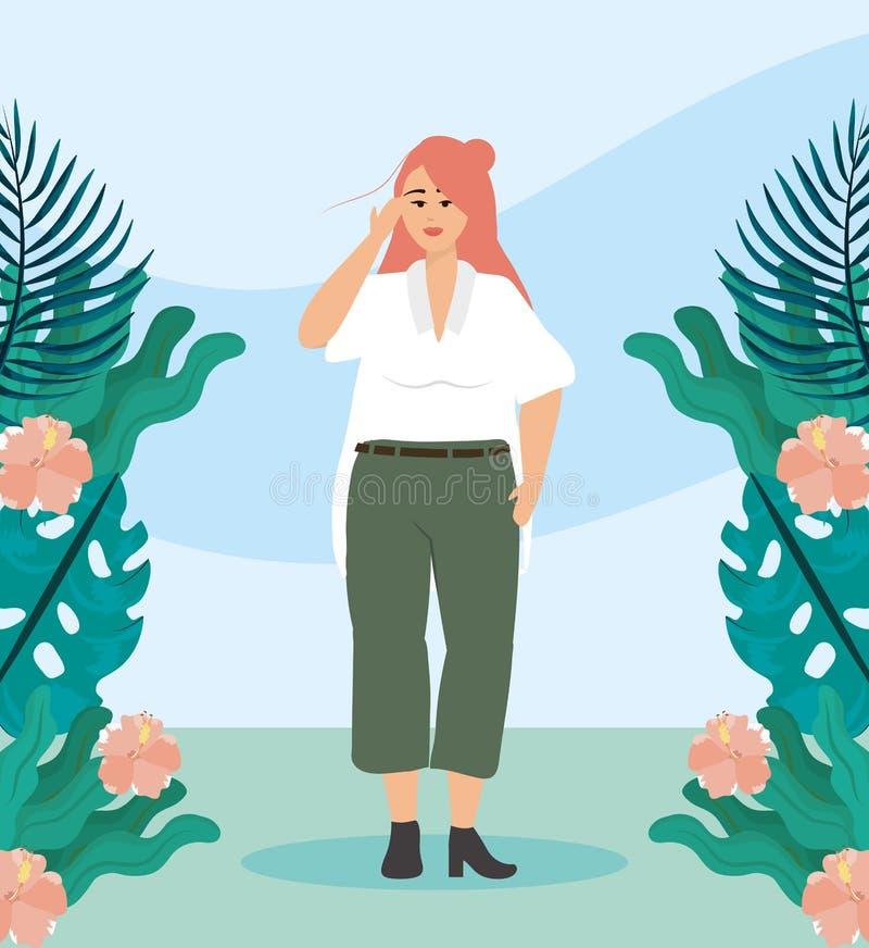 Meisje met blouse en broek vrijetijdskleding stock illustratie