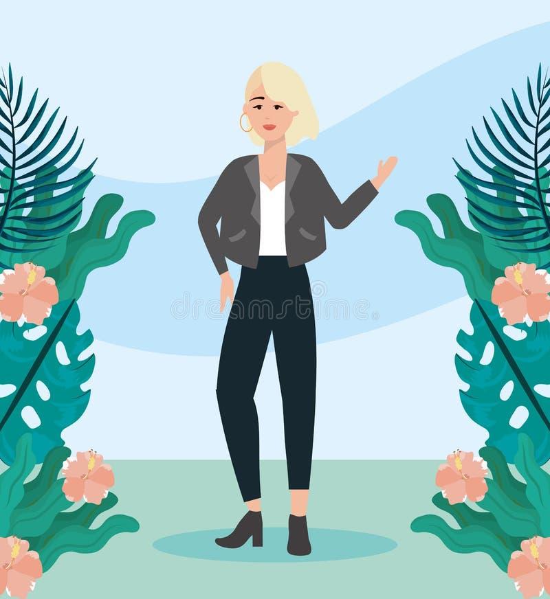Meisje met blouse en jasje met broek vrijetijdskleding stock illustratie