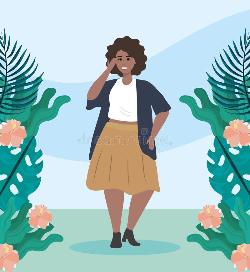 Meisje met blouse en rok met jasje vrijetijdskleding stock illustratie