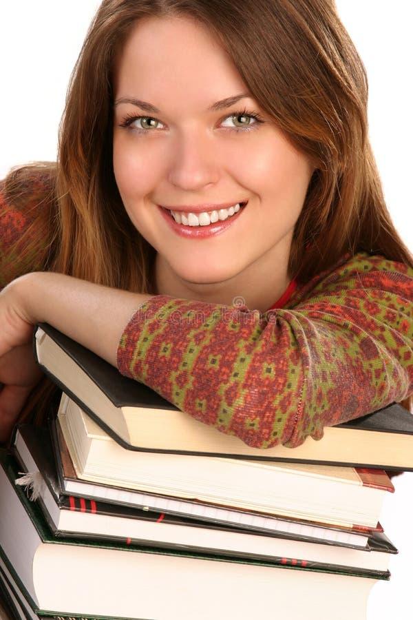 Meisje met boeken 2 stock afbeelding