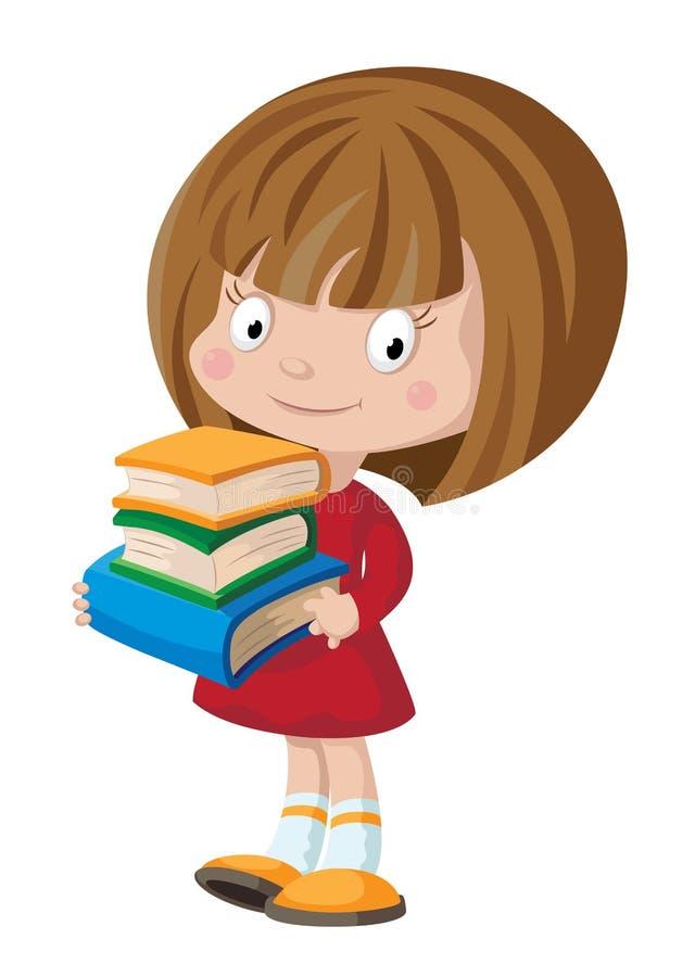 Meisje met boeken stock illustratie