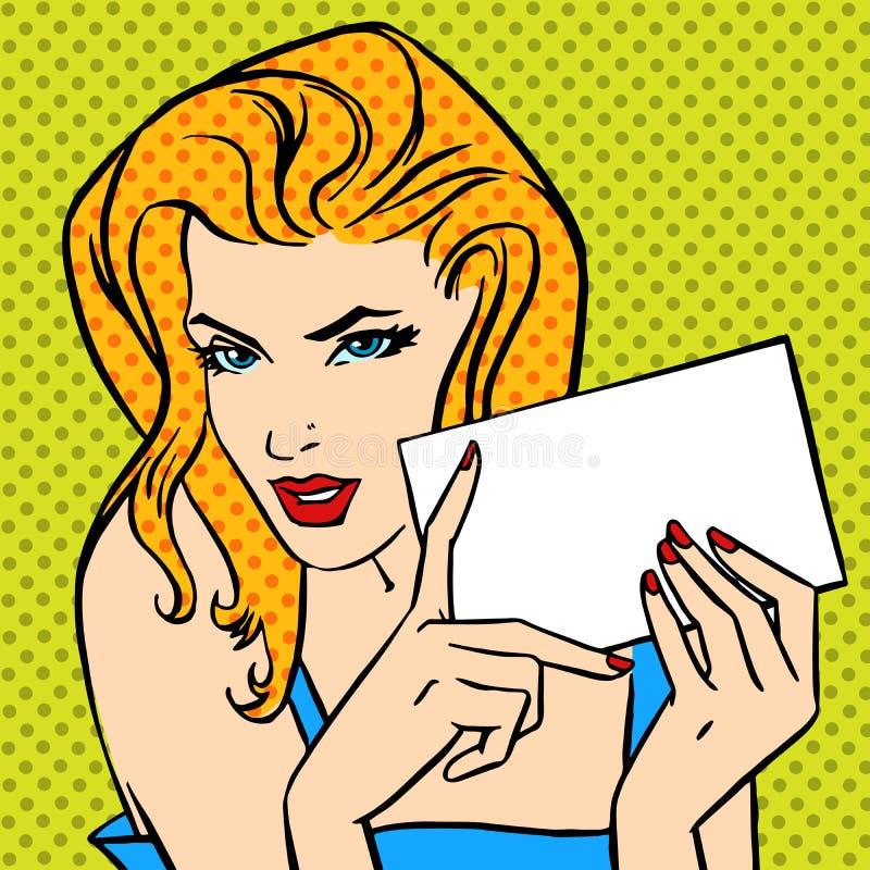 Meisje met boze uitstekende grappig van het brievenpop-art stock illustratie