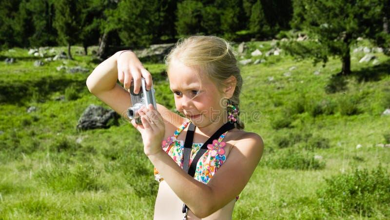 Meisje met camera royalty-vrije stock afbeelding