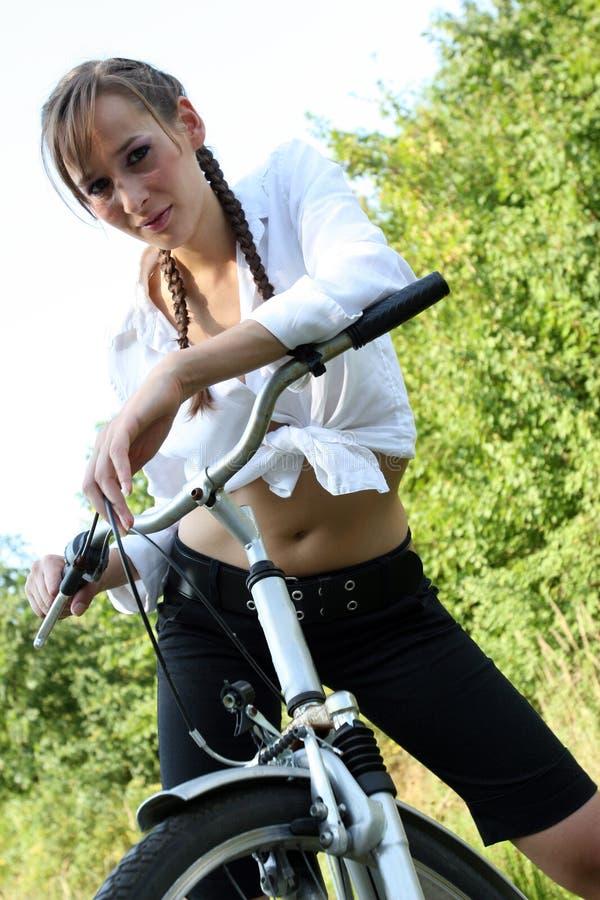 Meisje Met Citybike Royalty-vrije Stock Fotografie