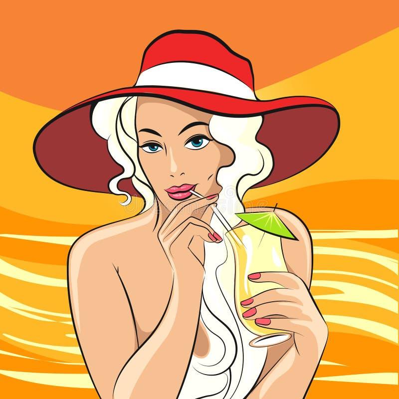 Meisje met Cocktail retro illustratie stock illustratie