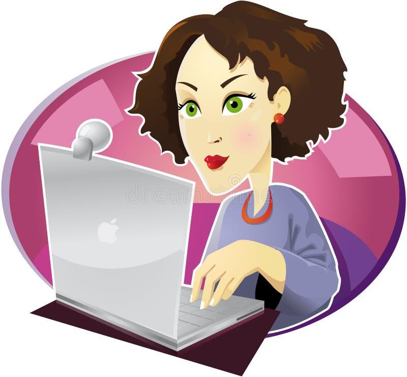 Meisje met computer stock illustratie