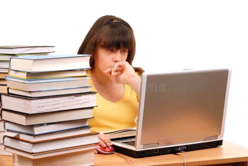 Meisje met Computer stock foto's