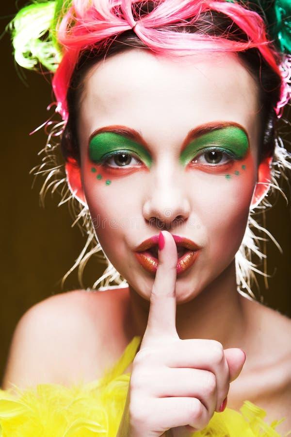 Meisje met creatief gezicht royalty-vrije stock afbeelding