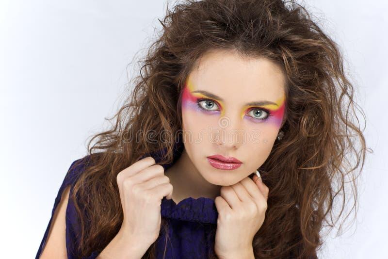 Meisje met creatieve samenstelling stock afbeelding