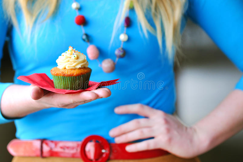 Meisje met Cupcake royalty-vrije stock foto's