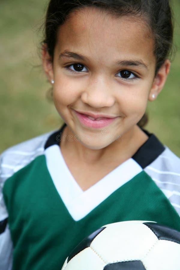 Meisje met de Bal van het Voetbal stock afbeeldingen